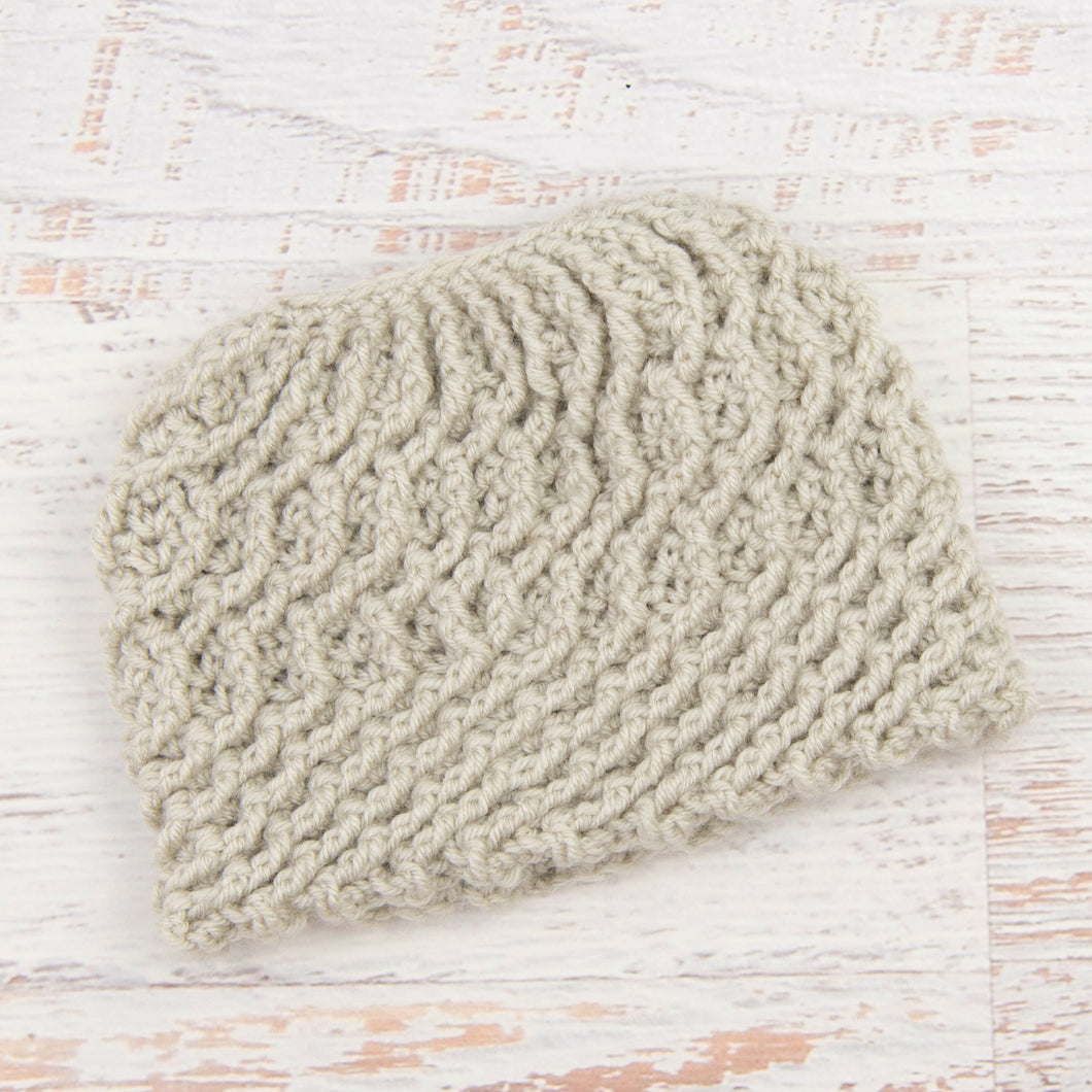 In-Stock Swirly Messy Bun Hat in Linen
