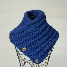 Load image into Gallery viewer, In-Stock Three Button Cowl in Cobalt
