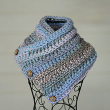 Load image into Gallery viewer, In-Stock Three Button Cowl in Acrylic Cotton Candy Mix