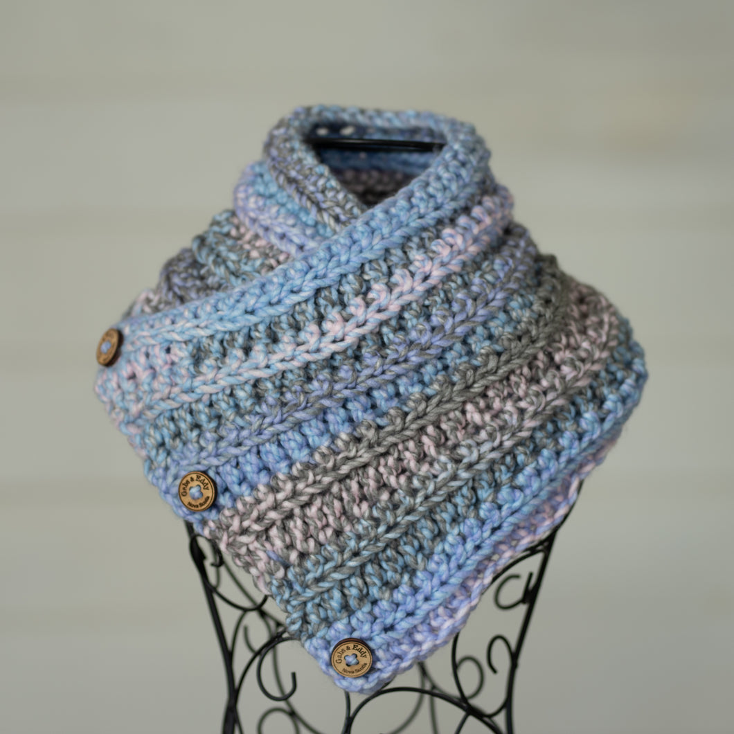 In-Stock Three Button Cowl in Acrylic Cotton Candy Mix