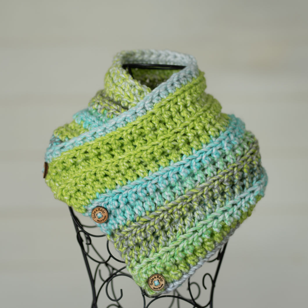 In-Stock Three Button Cowl in 100% Acrylic Lime
