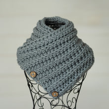 Load image into Gallery viewer, In-Stock Three Button Cowl in Slate Grey