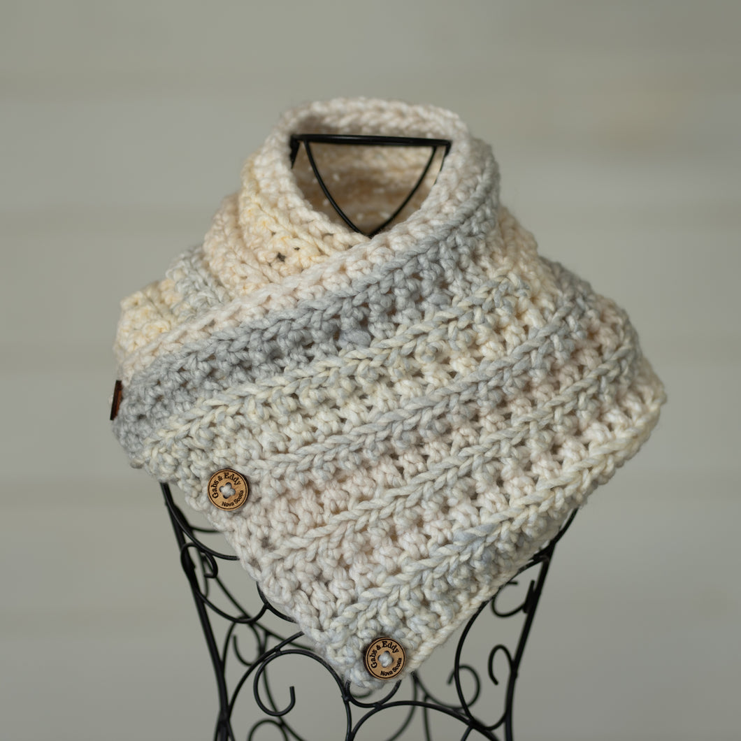 In-Stock Three Button Cowl in 100% Acrylic Mix Vanilla Bean