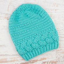 Load image into Gallery viewer, In-Stock Cabled Slouchy Toque in Aqua Marine