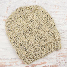 Load image into Gallery viewer, In-Stock Cabled Slouchy Toque in Oatmeal