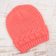 Load image into Gallery viewer, In-Stock Cabled Slouchy Toque in Pink Grapefruit