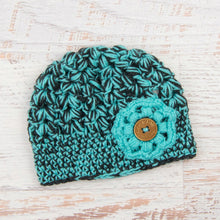 Load image into Gallery viewer, In-Stock Tortoise Shell Beanie in Dark Grey Heather and Aqua Marine with Aqua Marine Flower