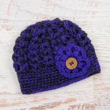 Load image into Gallery viewer, In-Stock Tortoise Shell Beanie in Electric Purple and Dark Grey Heather with Electric Purple Flower