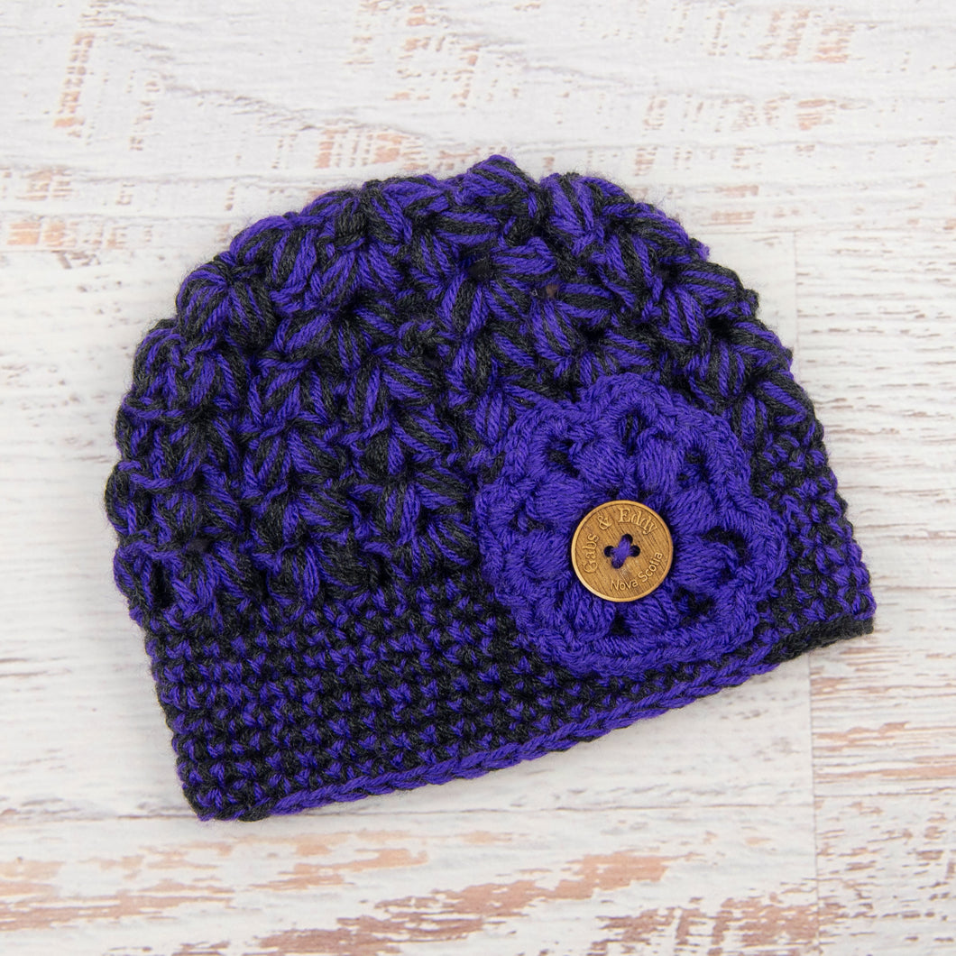 In-Stock Tortoise Shell Beanie in Electric Purple and Dark Grey Heather with Electric Purple Flower