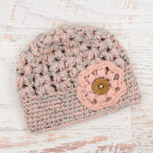 Load image into Gallery viewer, In-Stock Tortoise Shell Beanie in Grey Marble & Pink with Pink Flower