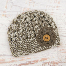 Load image into Gallery viewer, In-Stock Tortoise Shell Beanie in Linen & Taupe with Taupe Flower