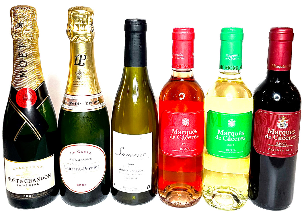 6 Half Wine bottles Hamper selection