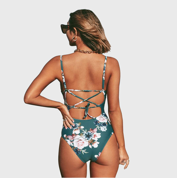 Pear Blossom Floral One Piece Swimsuit
