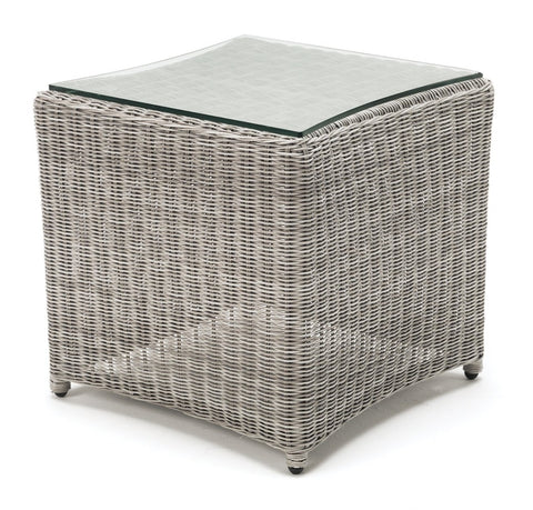 Palma Square Glass Side Table - White Wash