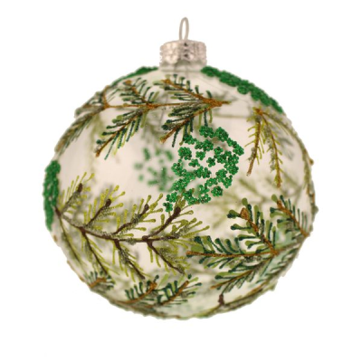 10cm Glass Glitter and Bead Spruce Pattern Bauble