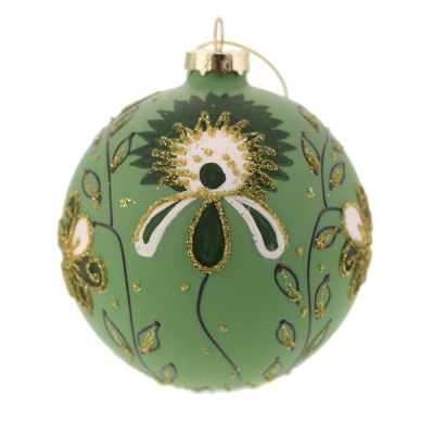 10cm GlassGlittered Flower and Leaf Pattern Bauble
