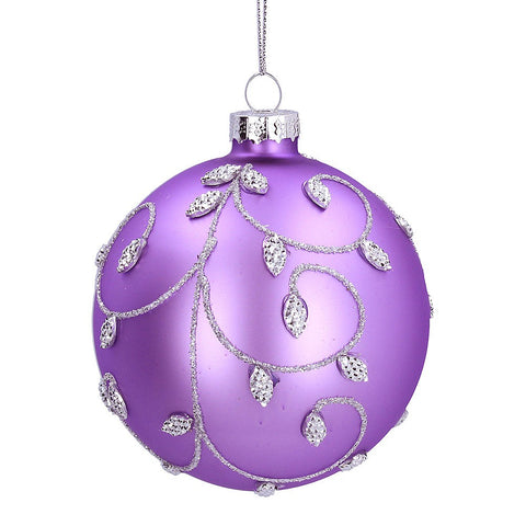 Gisela Graham Bauble Glass Lilac Silver Bead