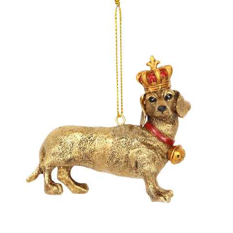 Gisela Graham Decoration Gold Dachshund w Crown
