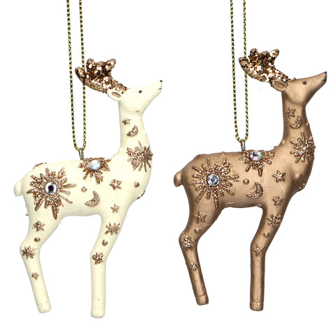 Gisela Graham Hanging Reindeer Gold/Cream Resin