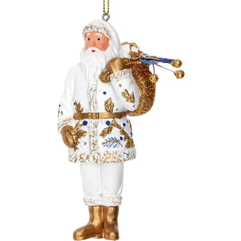 Gisela Graham Hanging Resin Santa White/Blue/Gold