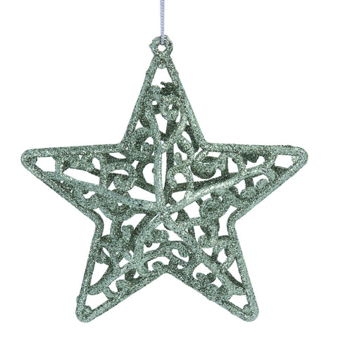 Gisela Graham Hanging Star Filigree Acrylic Green