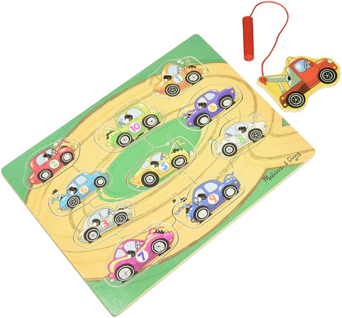 Melissa & Doug Wooden Game Magnetic Tow Trucks