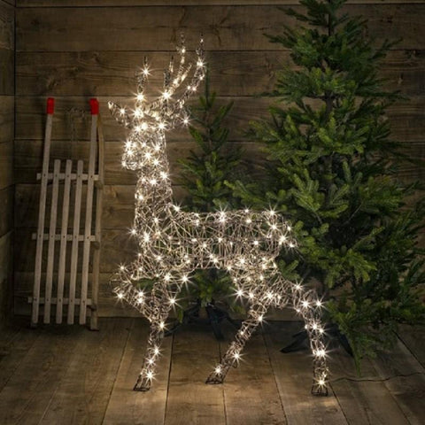 Noma Christmas Lights Standing Wicker Stag 1.4M