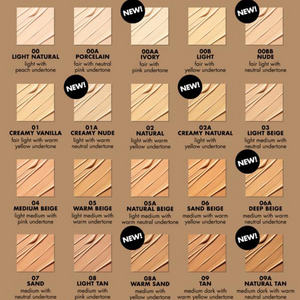 MILANI 2-IN-1-FOUNDATION +CONCEALER swatches 1