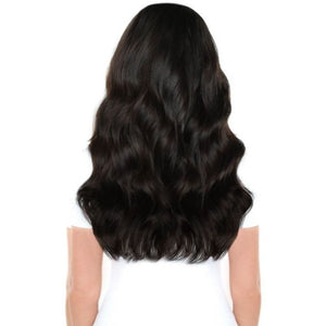 "Beauty Works 18"" Double Hair Set Clip-In Extensions on model, back view"