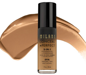MILANI 2-IN-1-FOUNDATION +CONCEALER 09A Natural Tan
