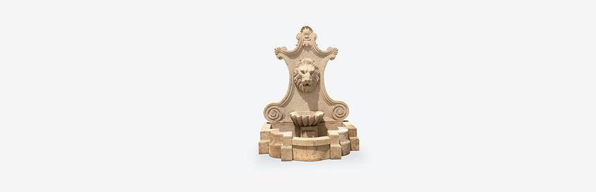 wall fountain with lion head