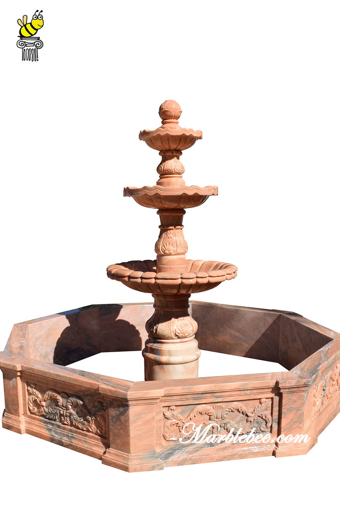 3 tier red stone fountain