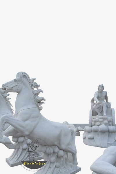 large stone fountain with horses