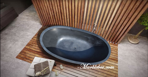 Matt Black Marble tub
