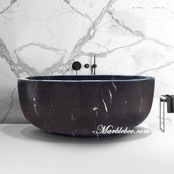 Modern Round stone tub-Japanese Soaking stone tub