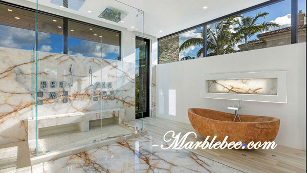 Rainforest Stone bathtub -Golden marble tub