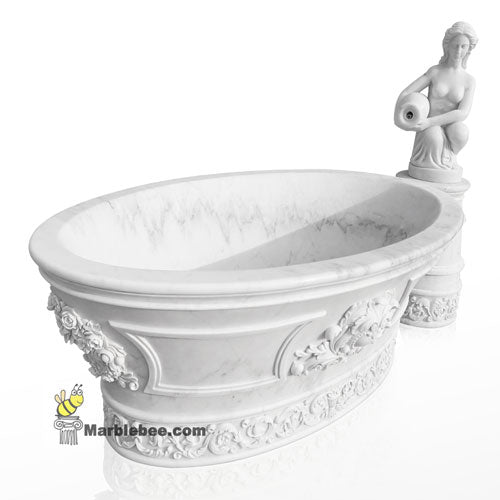 white marble tub with faucet