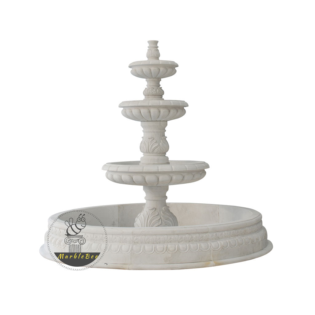 simple design 3-tiered stone fountain