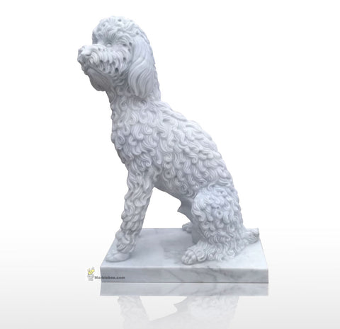 dog statues of white marble