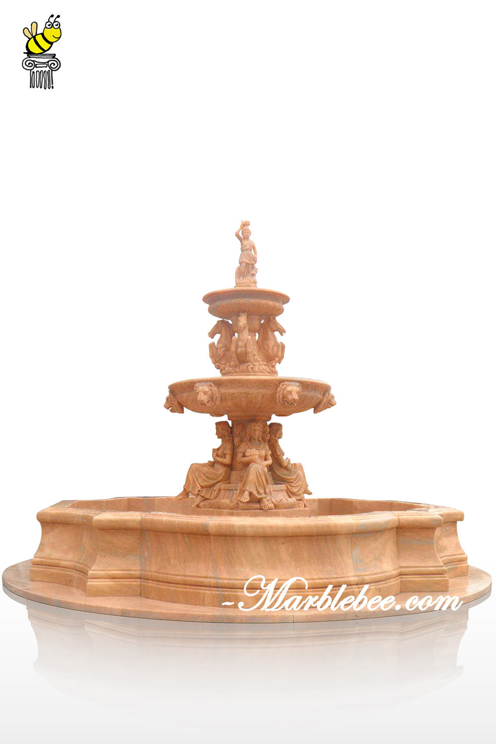 Red marble large fountain
