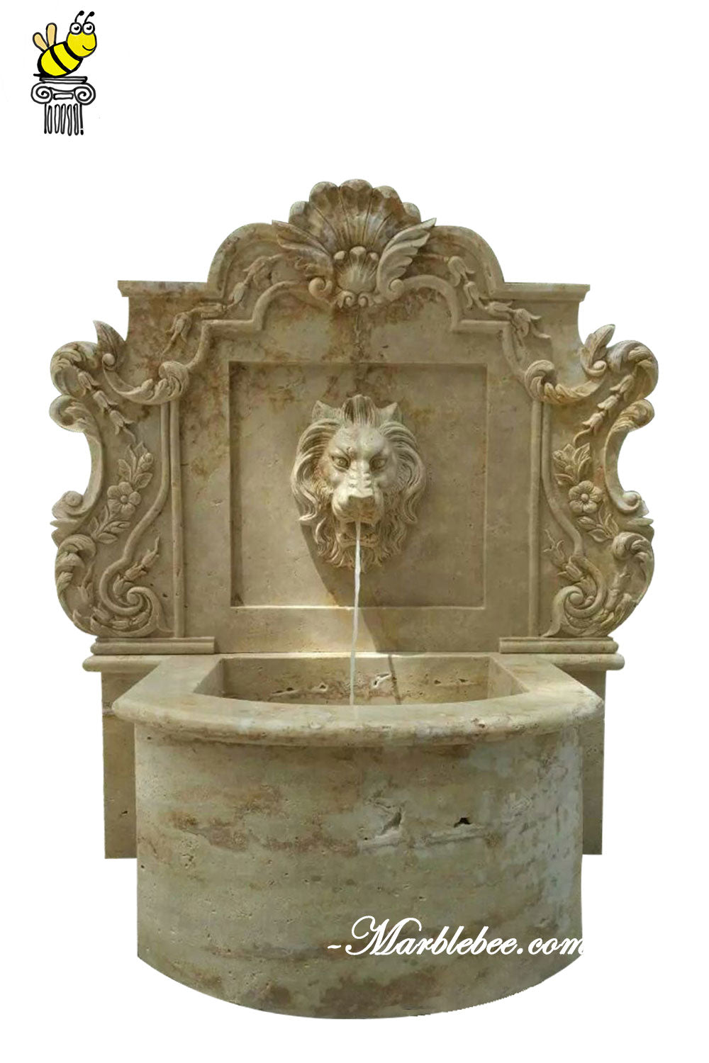 Lion stone wall fountain