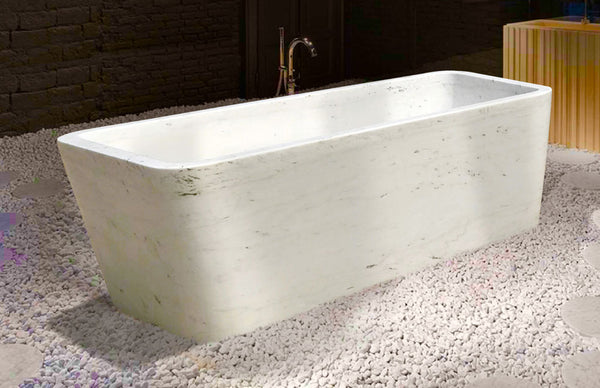 Modern rectangular stone tub