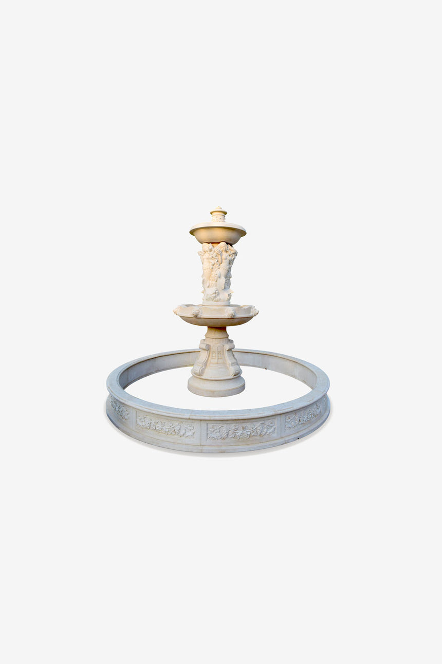 Small Garden fountain-Natural stone fountain with statues