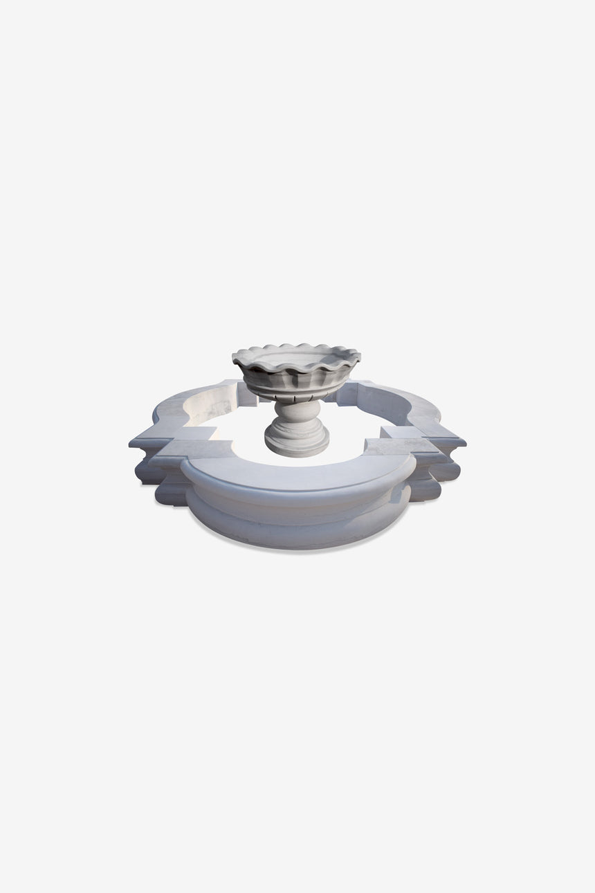Simplistic white stone fountain-small garden fountain