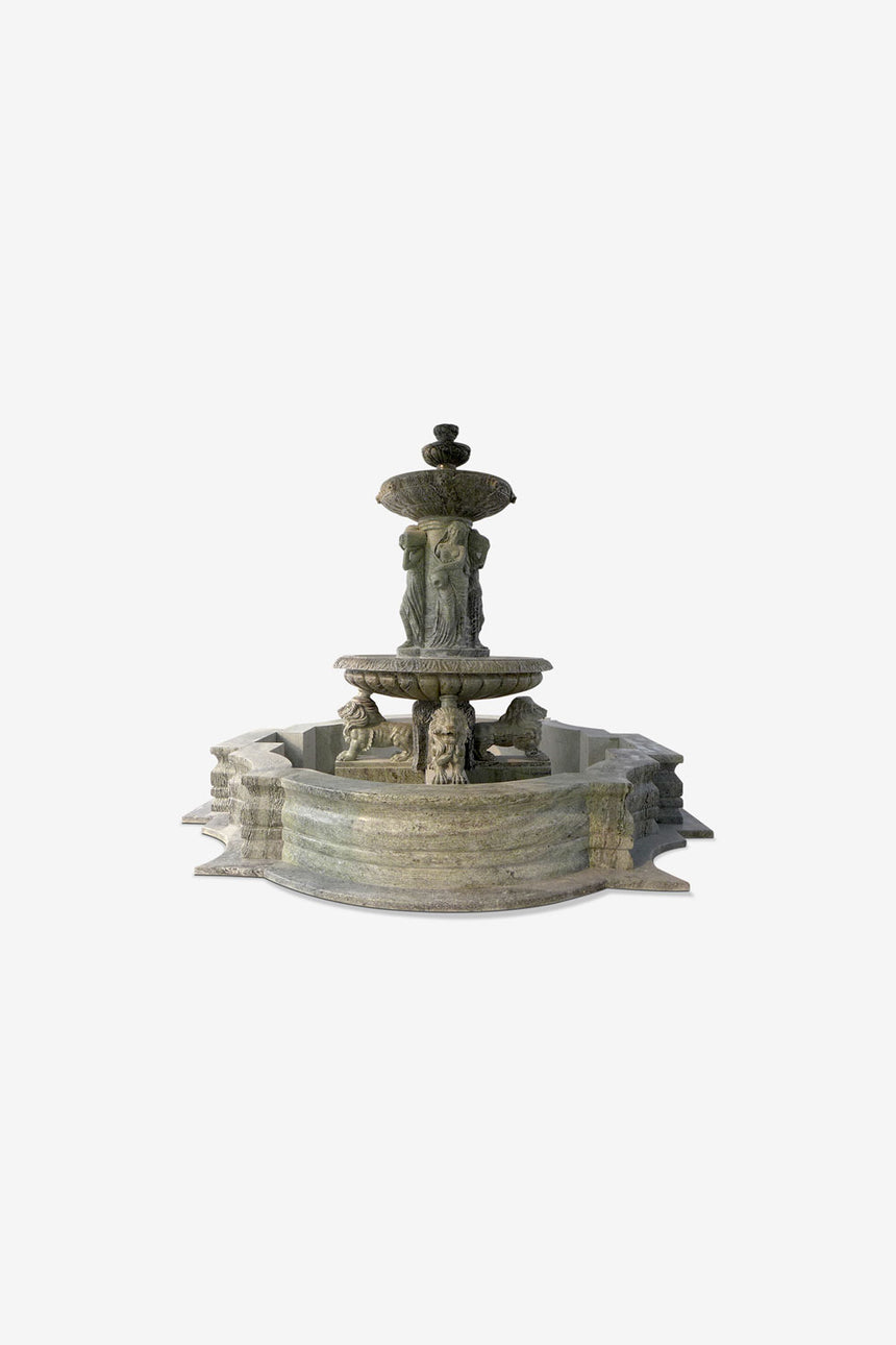 Green Marble fountain with large lion statues