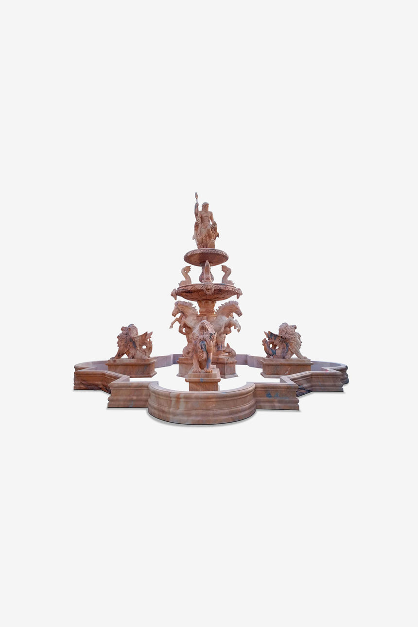 Large stone fountain with statues