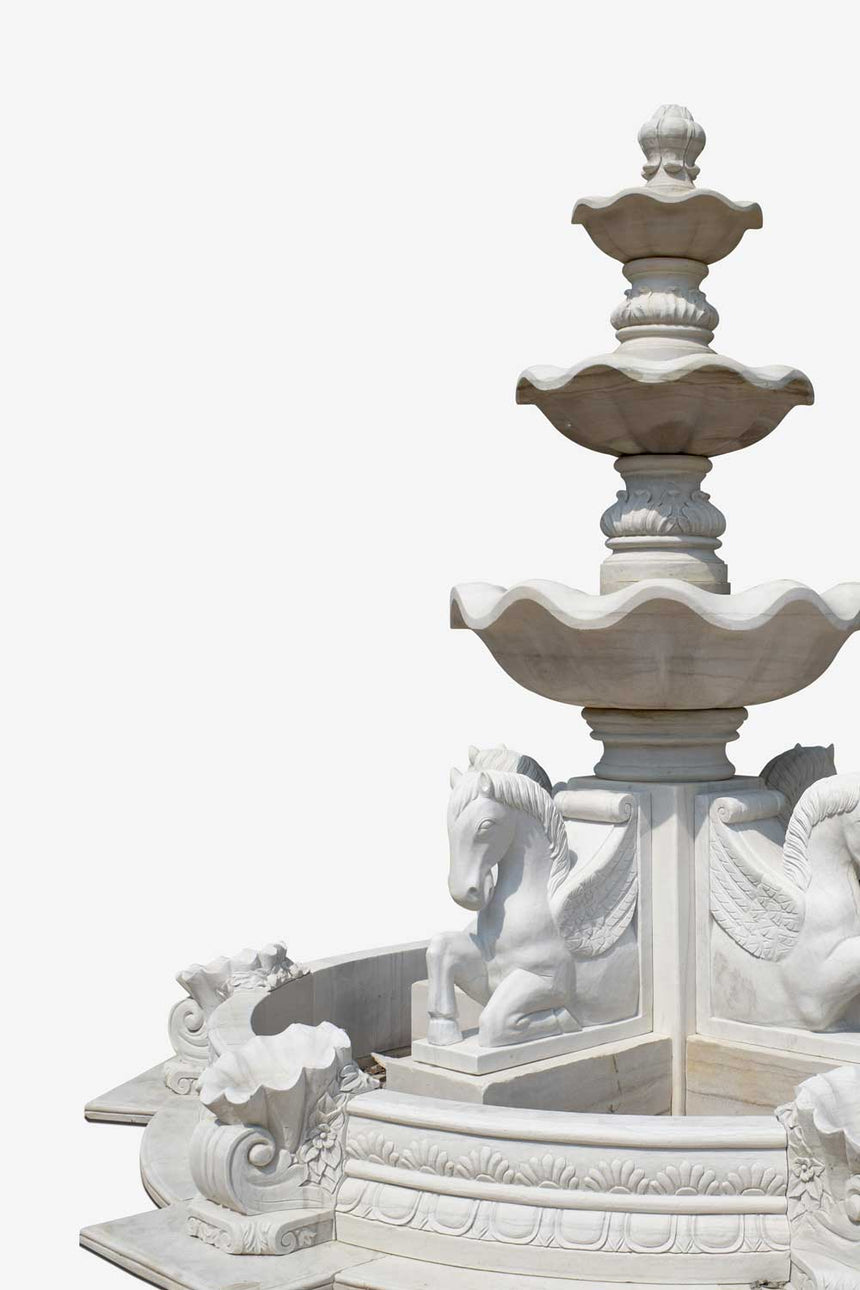 winged horses statue 3 tier fountain
