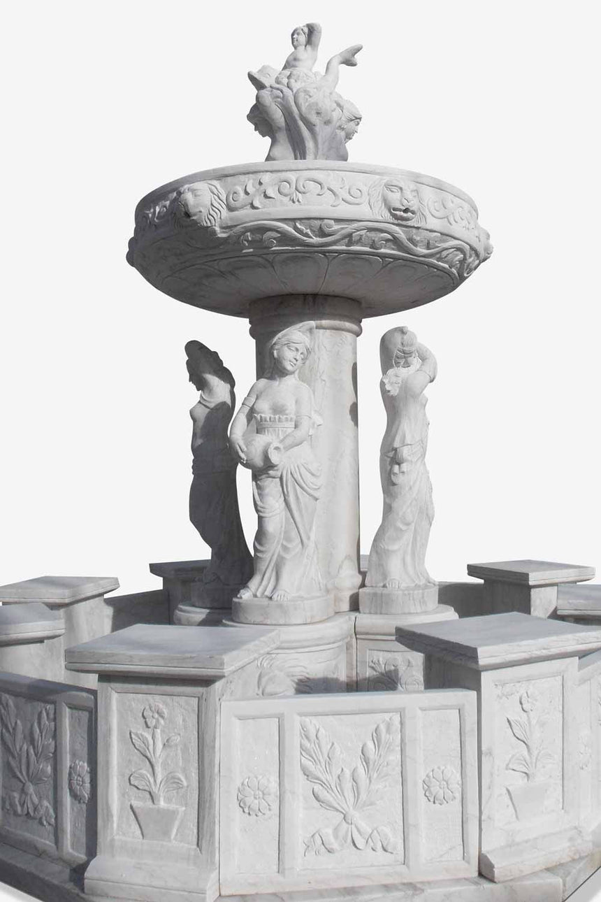White Marble stone fountain with statues