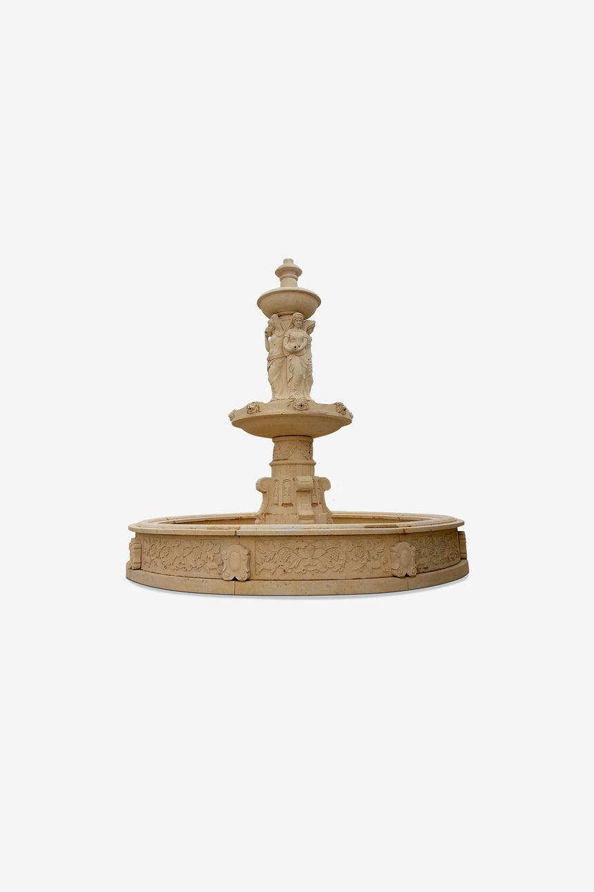 Two tier marble fountain