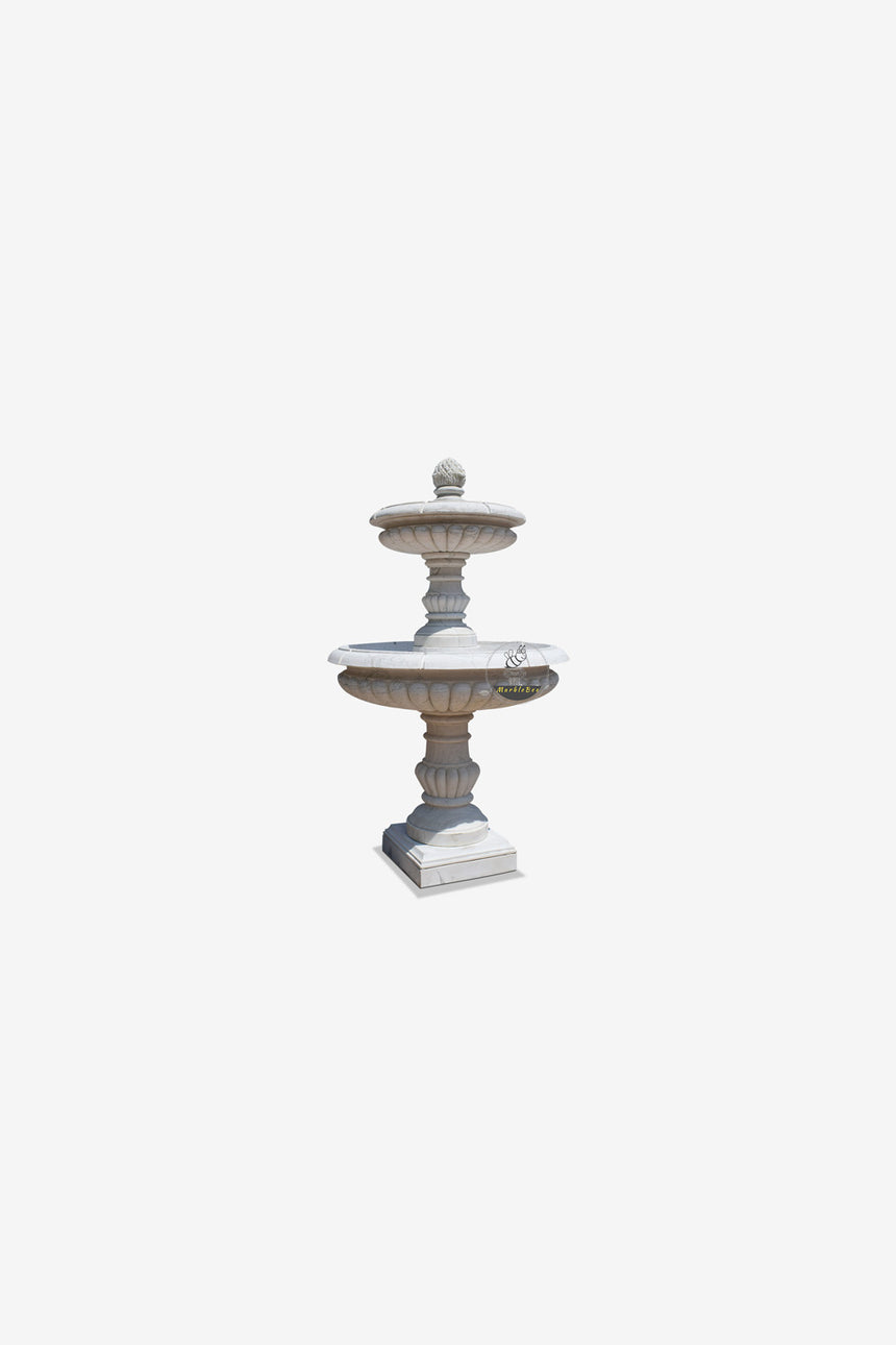 Small Garden Fountain -White Marble Two tier fountain